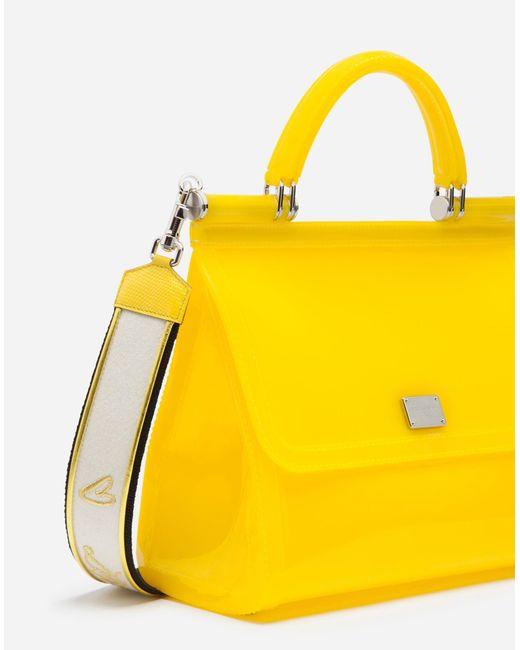 ... Lyst Dolce   Gabbana - Yellow Semi-transparent Rubber Sicily Handbag ... 38be0baec17b4