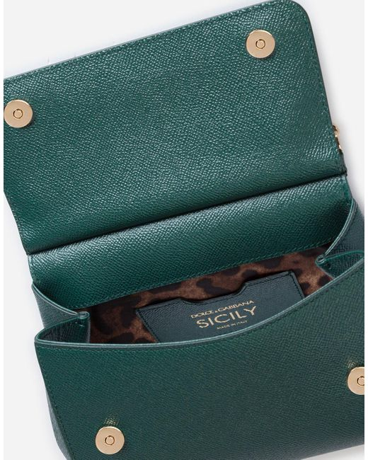 Dolce & Gabbana Green Medium Dauphine Leather Sicily Bag