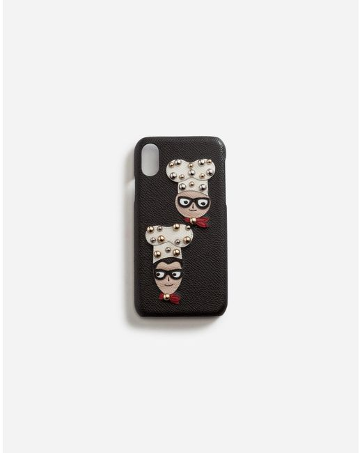 Coque Pour Iphone X En Cuir De Veau Dauphine, Avec Écusson Des Créateurs Dolce & Gabbana en coloris Black