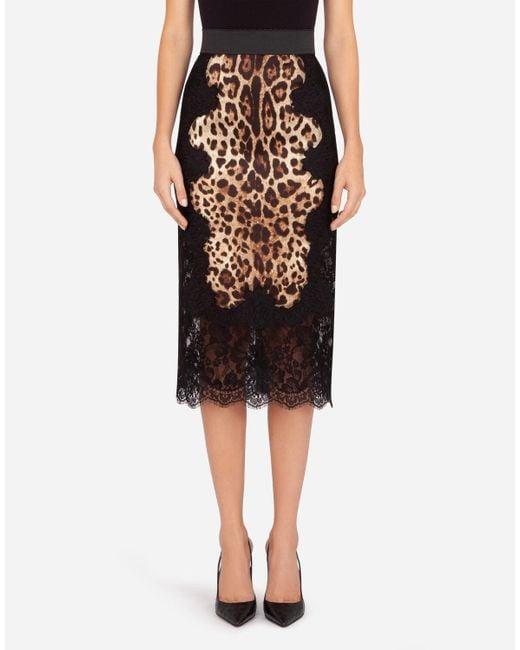 Dolce & Gabbana Black Printed Silk Skirt