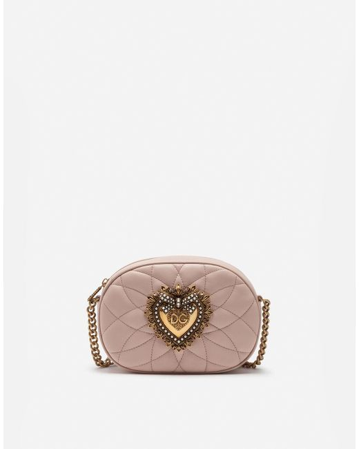 "Dolce & Gabbana Pink Kameratasche Aus Gestepptem Leder ""devotion"""