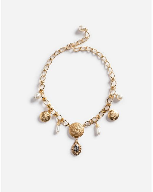 Dolce & Gabbana   Metallic Pendant Necklace With Crystals   Lyst