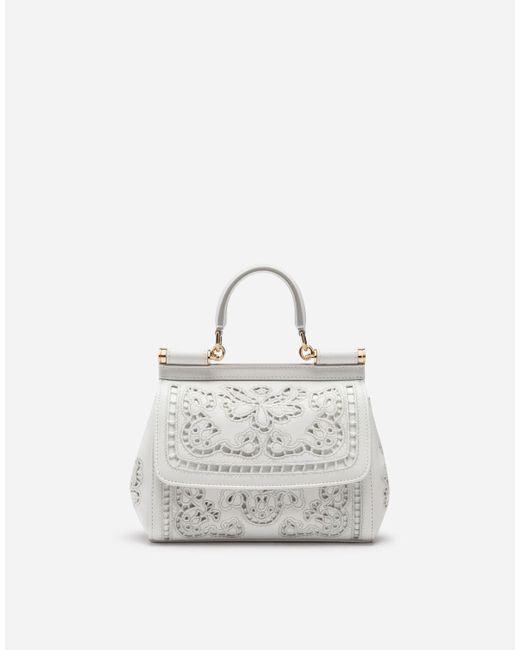 Dolce & Gabbana White Small Sicily Bag In Intaglio Nappa Leather