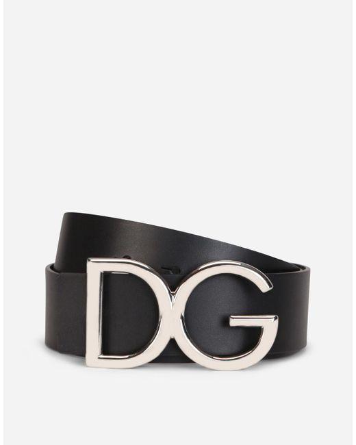 Leather Belt With Dg Logo Dolce & Gabbana de hombre de color Black