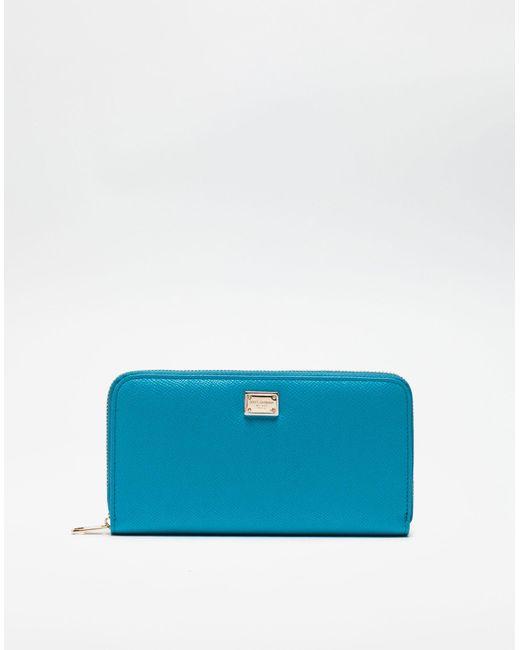58e4c2ffba Dolce & Gabbana Dauphine Leather Zip-around Wallet in Blue - Lyst