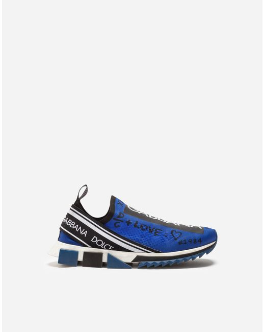 Dolce & Gabbana Blue Sorrento Sneakers With Logo for men