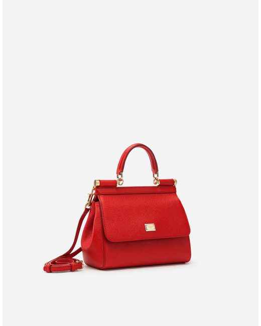 Dolce & Gabbana Red Small Dauphine Leather Sicily Bag