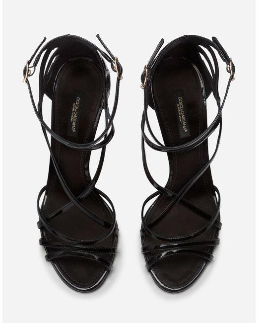 Sandalo In Vitello Lucido di Dolce & Gabbana in Black