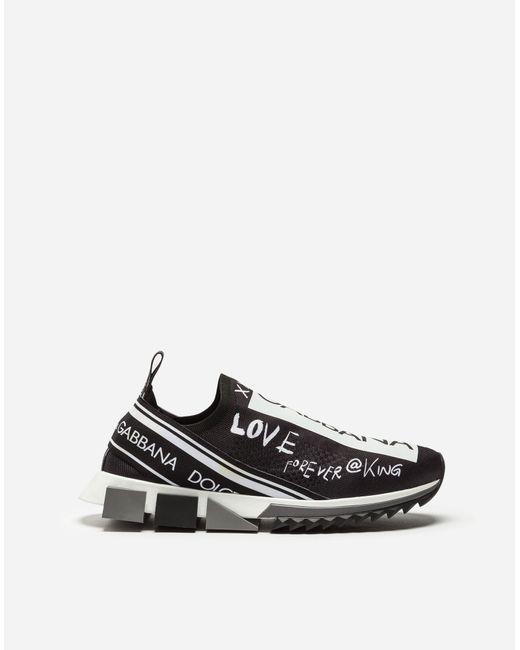 Dolce & Gabbana Black Sorrento Sneakers Graffiti Print