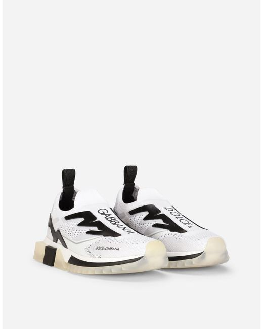 Dolce & Gabbana White Sorrento Sneakers In Stretch Jersey With Logo