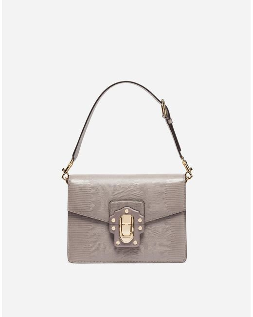 Dolce & Gabbana | Gray Leather Lucia Shoulder Bag | Lyst