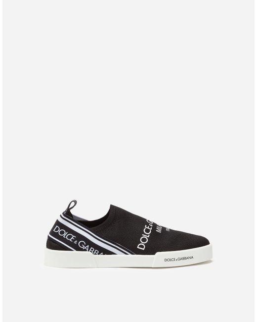 Dolce & Gabbana Black Mesh Slip-on Portofino Light Sneakers With Logo for men