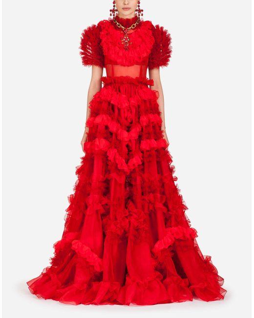 Dolce & Gabbana Red Silk Organza Dress