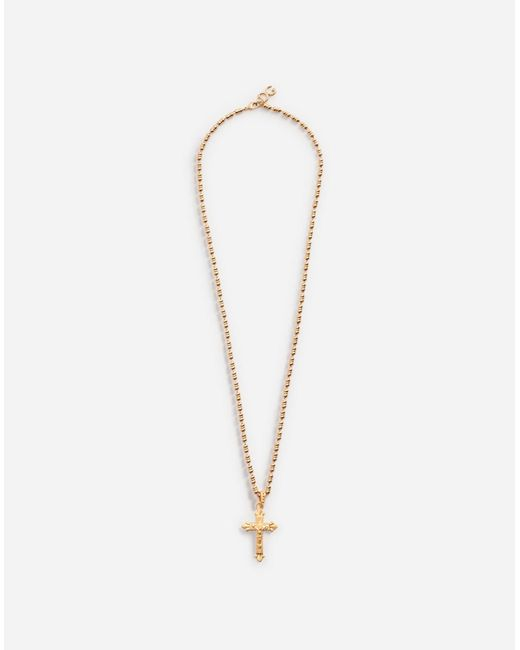 Dolce & Gabbana | Metallic Necklace With Cross | Lyst