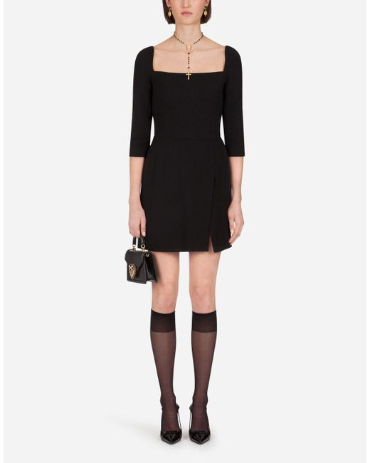 Dolce & Gabbana Black Short Double Crepe Dress