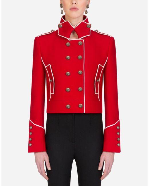 Single-Breasted Tweed Gabbana Jacket di Dolce & Gabbana in Red