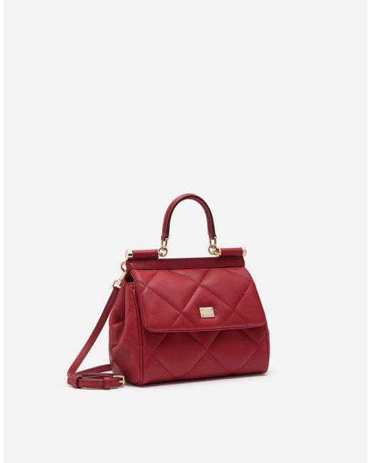 Small Sicily Bag In Aria Matelassé Calfskin Dolce & Gabbana en coloris Red
