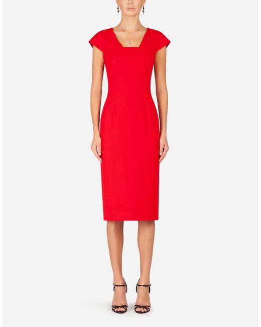 Dolce & Gabbana Red Cady Fabric Midi Dress