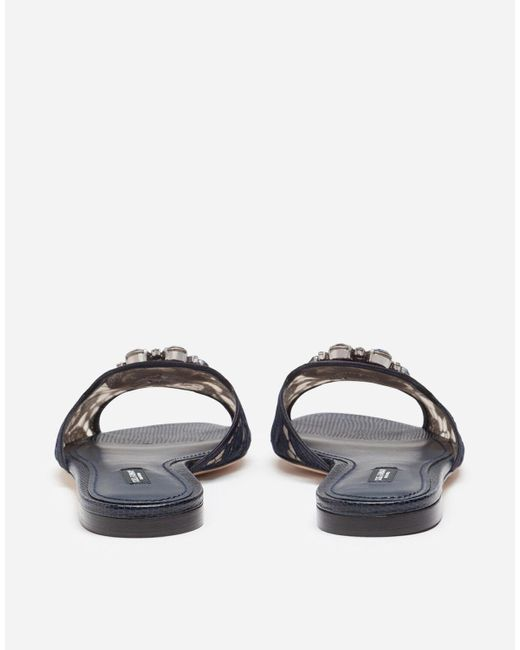 Slippers De Encaje Con Cristales Dolce & Gabbana de color Blue