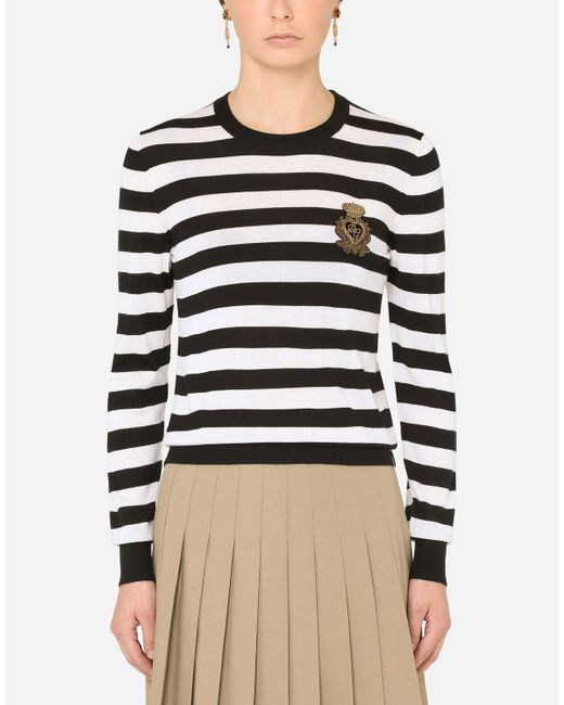 Dolce & Gabbana Blue Striped Crew-neck Sweater In Silk And Cashmere With Logo Detail