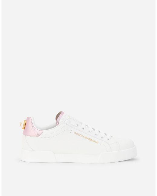 Dolce & Gabbana White Portofino Sneakers In Nappa Calfskin With Lettering