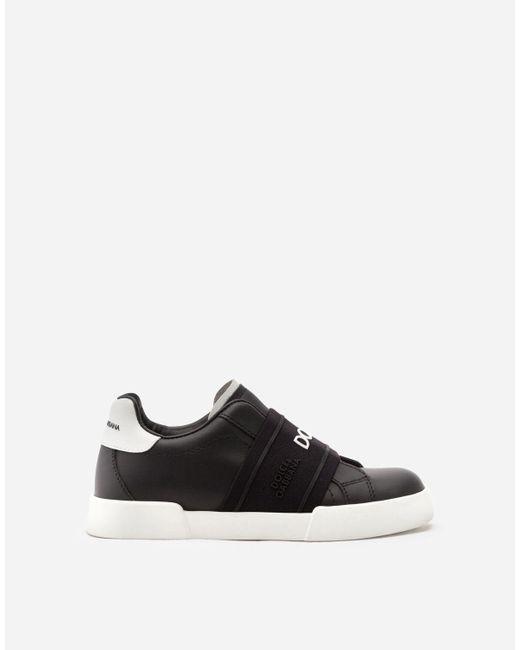 Dolce & Gabbana Sneakers Portofino Light Mit Logo-Gummiband Rubber in Black für Herren