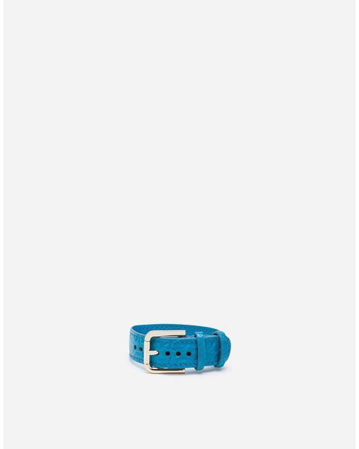 Dolce & Gabbana Blue Crocodile-Print Leather Bracelet