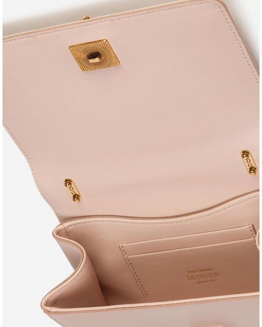 Small Devotion Crossbody Bag In Quilted Nappa Leather di Dolce & Gabbana in Pink