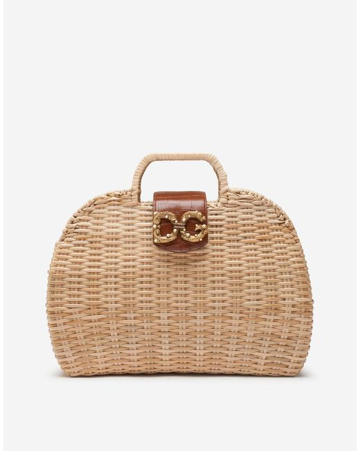 Dolce & Gabbana Natural Dg Amore Bag In Wicker And Cowhide