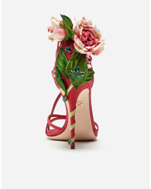 Dolce & Gabbana Red Sandale Aus Satin Mit Stickerei