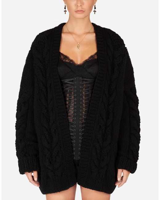 Long-Sleeved Wool And Cashmere Cardigan di Dolce & Gabbana in Black