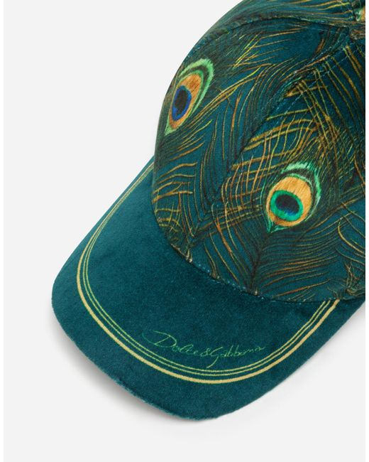 Dolce & Gabbana Green Baseball Cap With Feather Print for men