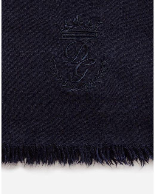 Scarf In Cashmere And Silk di Dolce & Gabbana in Blue da Uomo