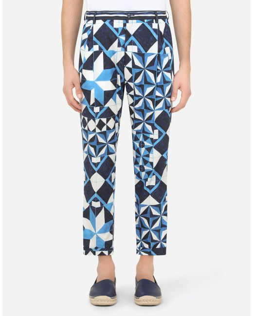 Dolce & Gabbana Blue Majolica-print Cotton Pants for men