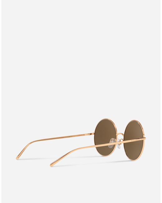 67d6b6d19733 ... Lyst Dolce   Gabbana - Pink Round Gold Plated Sunglasses ...