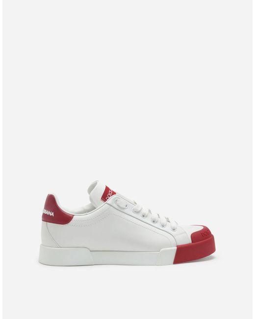 Dolce & Gabbana White Portofino Sneakers In Nappa Leather And Rubber Toe-Cap