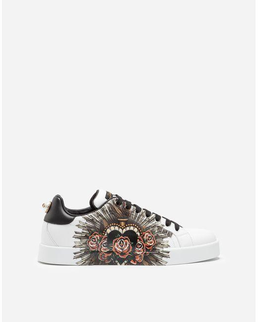 Dolce & Gabbana White Printed Calfskin Portofino Sneakers for men