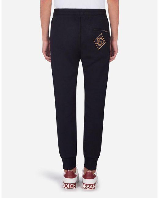 Dolce & Gabbana Jogginghose Aus Jersey Mit Patch in Blue für Herren
