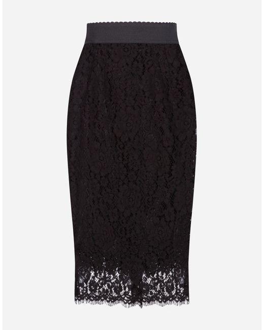 Falda De Tubo De Encaje Dolce & Gabbana de color Black
