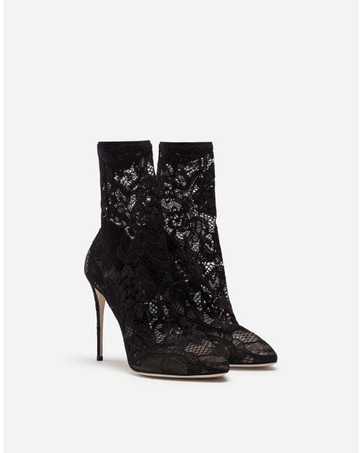 Stivaletto In Pizzo Stretch E Gros Grain di Dolce & Gabbana in Black