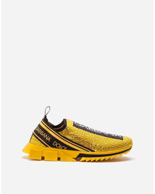 Dolce & Gabbana Yellow Sorrento Sneakers With Rhinestones for men