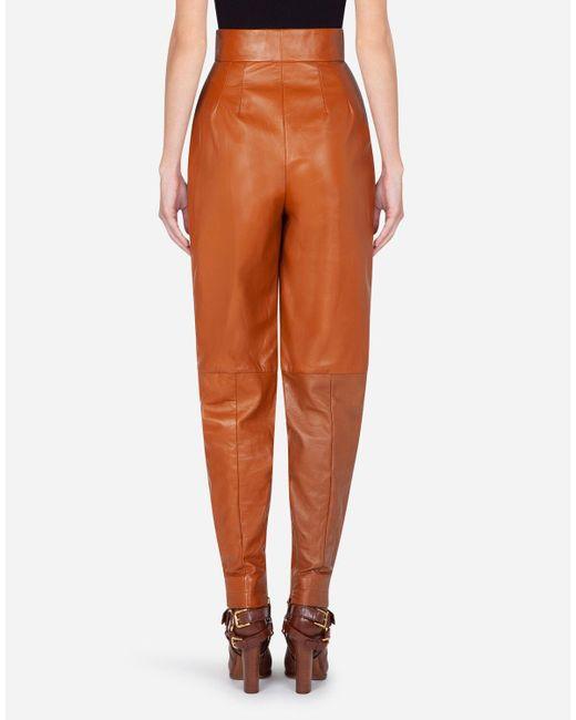 Dolce & Gabbana Brown Lambskin Balloon Pants