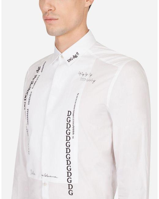 Dolce & Gabbana Smokinghemd Gold Baumwolle Letter-Print in White für Herren