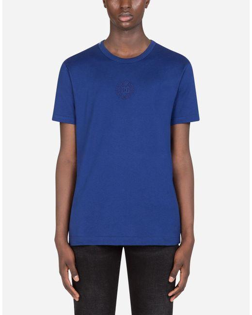 Camiseta Algodón Bordado Dg Dolce & Gabbana de hombre de color Blue