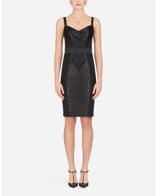 Dolce & Gabbana Black Bodycon Dress With Stretch Lace Applique