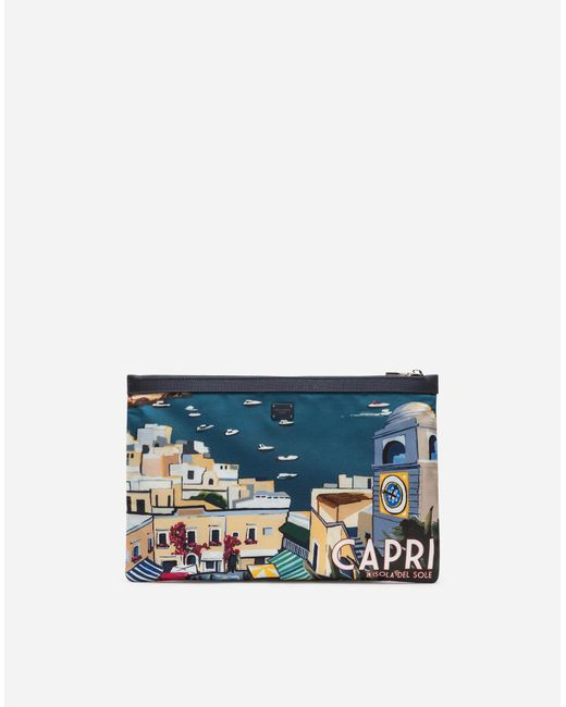 Dolce & Gabbana - Blue Printed Nylon Document Holder - Lyst