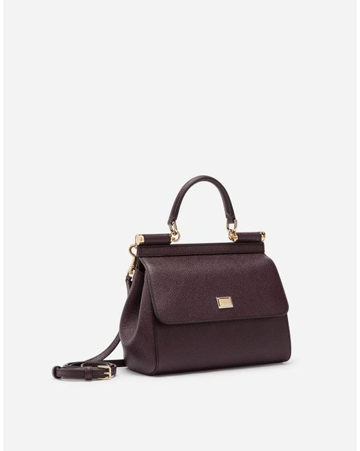 Dolce & Gabbana Purple Small Dauphine Leather Sicily Bag