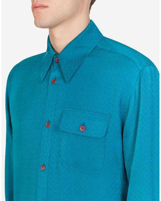 Dolce & Gabbana Silk Jacquard Shirt in Blue für Herren