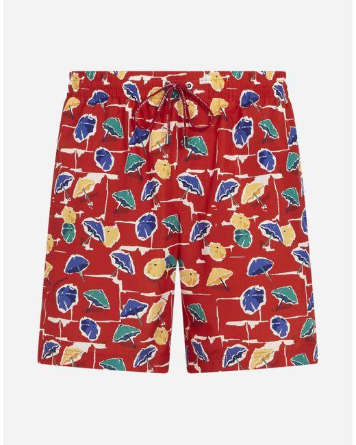 Dolce & Gabbana Medium Swimming Trunks With Parasol Print in Red für Herren