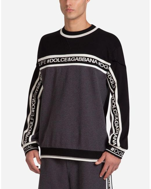 Dolce & Gabbana - Black Cotton Sweatshirt With Band Featuring Logo for Men - Lyst